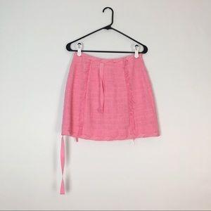 MSGM Skirts - MSGM Pink Tweed Fringe Skirt 40